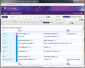 Screenshot of TelstraClear electronic program guide showing what's on
