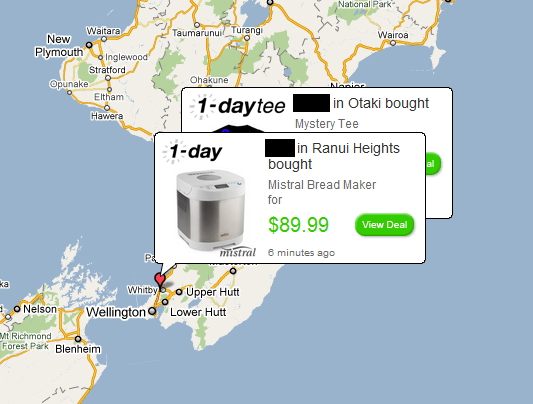 Google Map showing 1-Day customer purchases